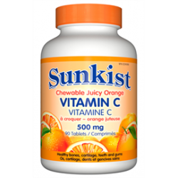SUNKIST Vitamín C 500mg žvýkací tablety různé příchutě 90tbl